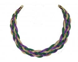 Mardi Gras Braided Mesh Necklace