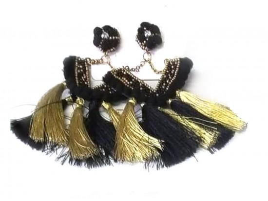 Black Gold V Tassel Dangle Post Earrings