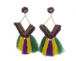 Mardi Gras V Tassel Dangle Post Earrings