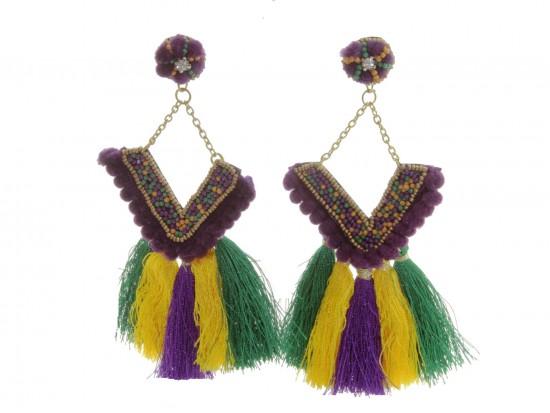 Mardi Gras V Tassel Dangle Post Earrings