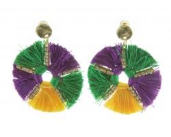 Mardi Gras Round Dangle Post Earrings
