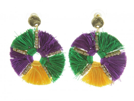 Mardi Gras Round Dangle Post Earrings