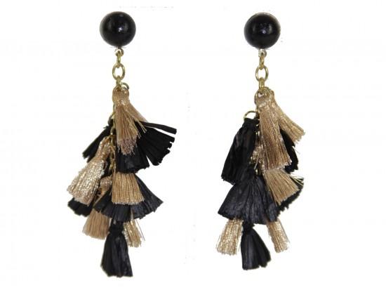Black Gold Multi Mini Tassels Post Earrings
