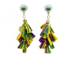 Mardi Gras Multi Mini Tassels Post Earrings