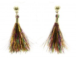 Mardi Gras Cloth Tassel Post Earrings