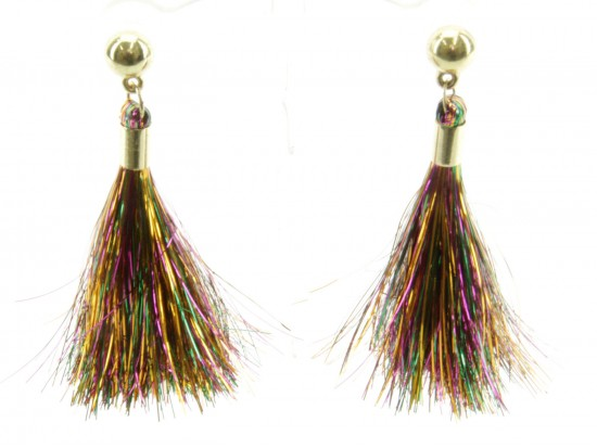 Mardi Gras Tinsel Tassel Post Earrings