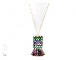 Mardi Gras Sequin Tassel Necklace