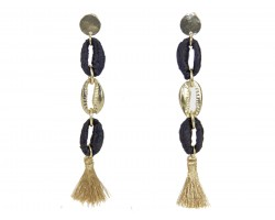 Black Gold Cord Loop Tassel Post Earrings