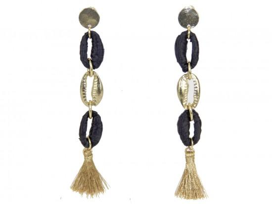 Black Gold Cord Loop Tassel Post Earrings