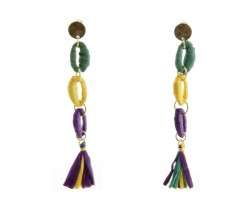 Mardi Gras Cord Loop Tassel Post Earrings