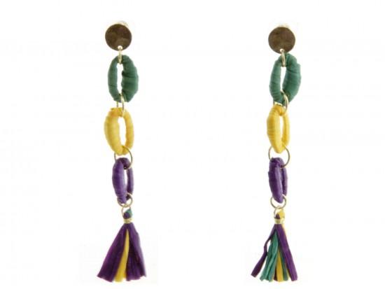 Mardi Gras Cord Loop Tassel Post Earrings