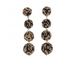 Black Gold Scattered Seed Bead Ball Post Earrings