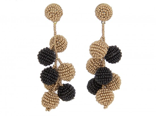 Black Gold Seed Bead Ball Vine Post Earrings