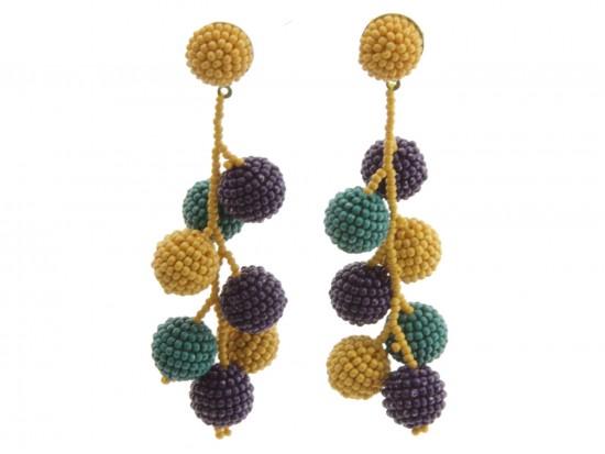 Mardi Gras Seed Bead Vine Ball Post Earrings