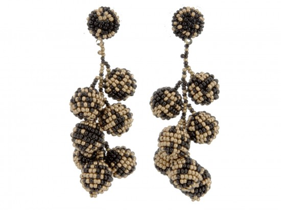 Black Gold Scattered Seed Bead Vine Post Earrings