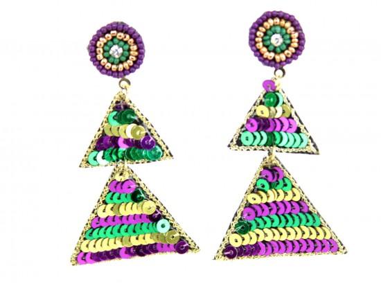 Mardi Gras Sequin Triangle Dangle Post Earrings