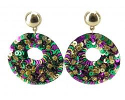 Mardi Gras Sequin Door Knocker Post Earrings
