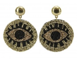 Black Gold Seed Bead Evil Eye  Post Earrings