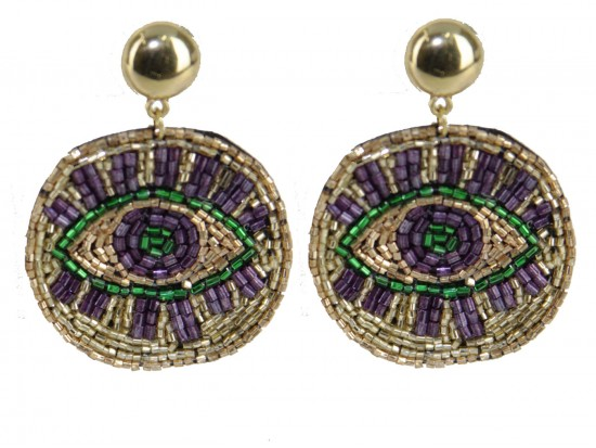 Mardi Gras Seed Bead Evil Eye  Post Earrings