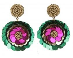 Mardi Gras Sequin Flower Dangle Post Earrings
