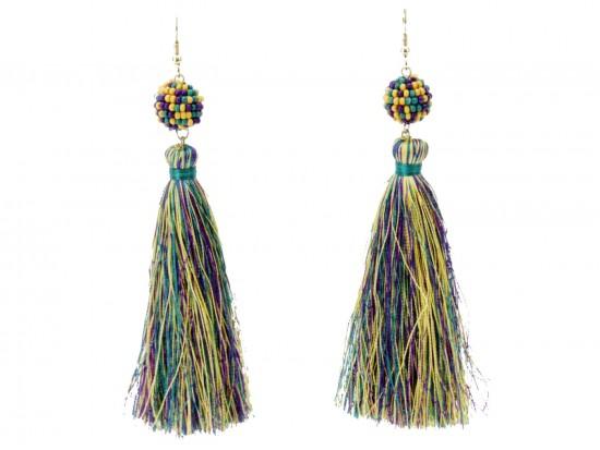 Mardi Gras Cloth Tassel Seed Bread Post Earrings