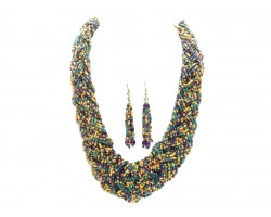 Mardi Gras Seed Bead Braided Strand Necklace Set