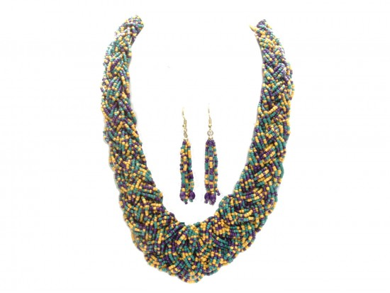 Mardi Gras Seed Bead Braided Strand Necklace Set