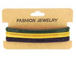 Mardi Gras Crystal Leather Magnetic Bracelet