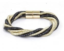 Black Gold Twist Cord Magnetic Bracelet