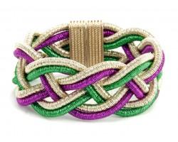 Mardi Gras Braided Cord Magnetic Bracelet