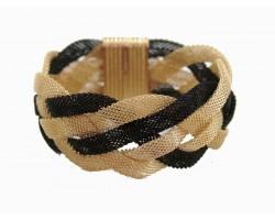 Black Gold Braided Mesh Magnetic Bracelet