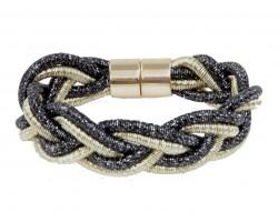 Black Gold Braided Cord Magnetic Bracelet
