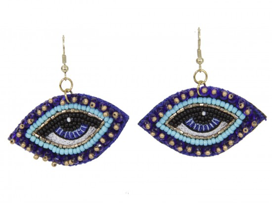 Blue Seed Bead Eyes Hook Earrings