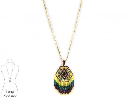 Mardi Gras Seed Bead Necklace