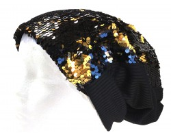 Black Gold Sequin Beanie Cap