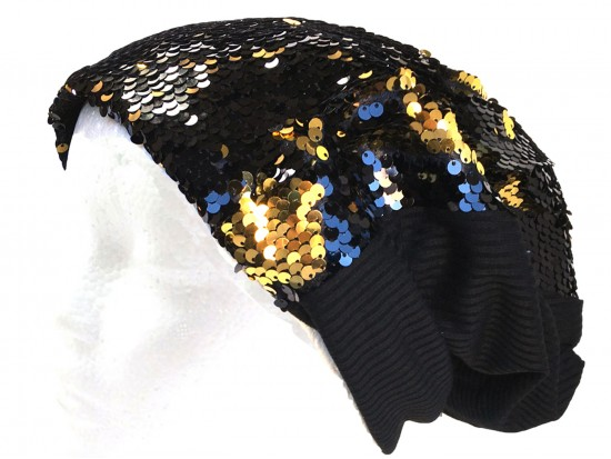 Black Gold Sequin Beanie Cap
