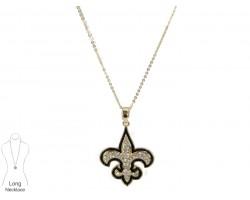 Black Gold Crystal Fleur De Lis Necklace