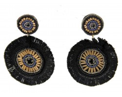 Black Gold Round Tassel Post Earrings