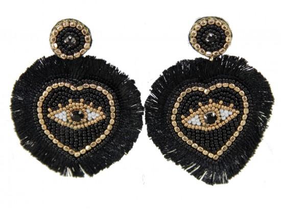 Black Gold Evil Eye Heart Tassel Post Earrings