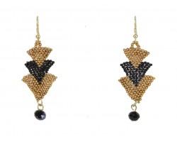 Black Gold Seed Bead Chevron Hook Earrings