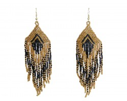 Black Gold Seed Bead Feather Shape Hook Earrings