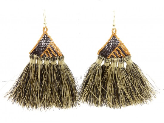 Black Gold Seed Bead Triangle Tassel Hook Earrings