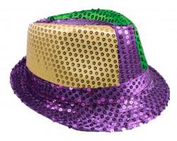 Mardi Gras Sequin Fedora Hat
