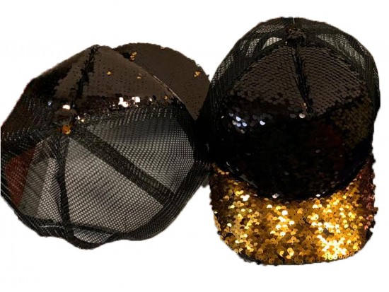 Black Gold Sequin Ball Cap