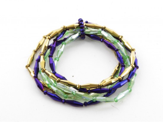 Mardi Gras Beaded 6 Bracelet Set