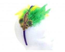 Mardi Gras Feather Sequin Fleur De Lis Headband