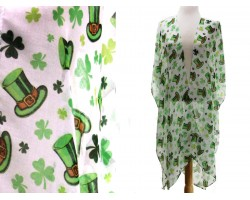 Green Clover Top Hat White Cardigan