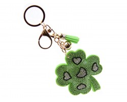 Green Clover Puff Key Chain