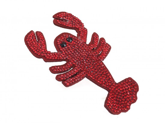 Red Crystal Crawfish Pin Brooch