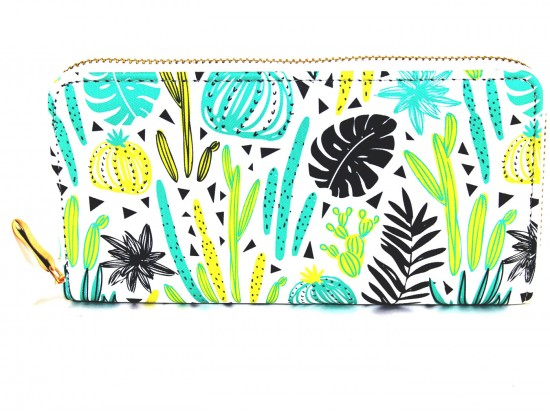 Multi Cacti Leaves Zipper Wallet